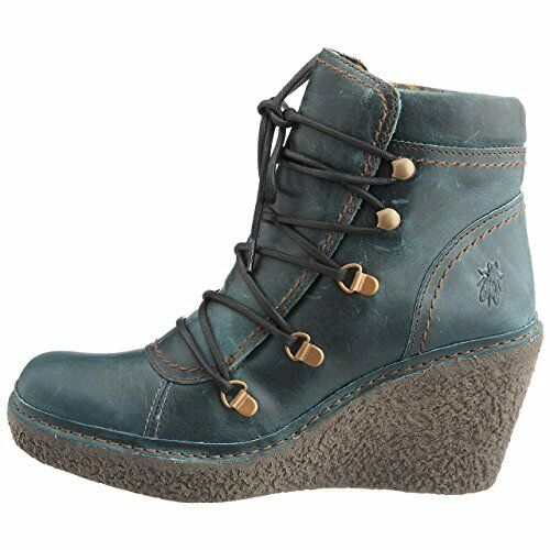 FLY LONDON WEDGE VING PETROL LEATHER PLATFORM WEDGE LONDON ANKLE Stiefel UK 4 EUR 37 a7694c