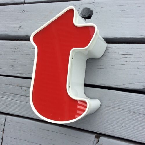 "BIG METAL PLASTIC RED /& WHITE SIGN LETTER ""T"" INDUSTRIAL SALVAGE 10 INCH"