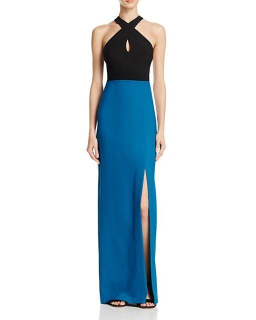 Nicole Miller Black & Teal Colorblock Crepe Halter Front Slit Gown 2 ...