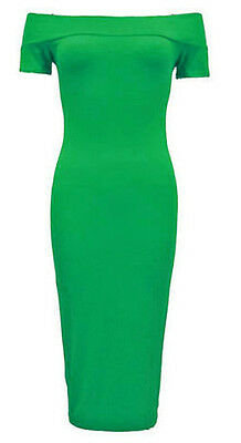 New Womens Plus Size Off Shoulder Long Bodycon Stretch Midi Dress