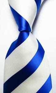 New-Classic-Striped-White-Blue-JACQUARD-WOVEN-100-Silk-Men-039-s-Tie-Necktie