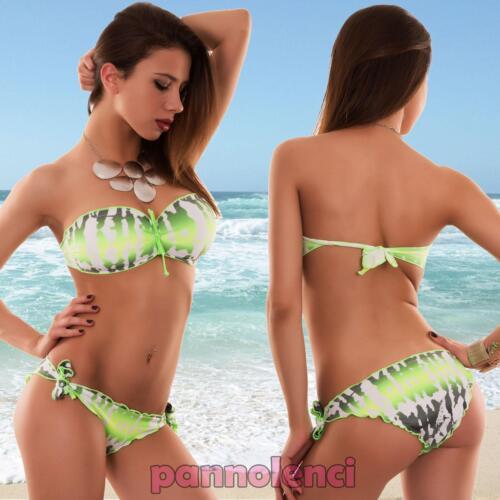 Bikini donna costume da bagno mare fascia fiocco due pezzi bandeau nuovo V1407