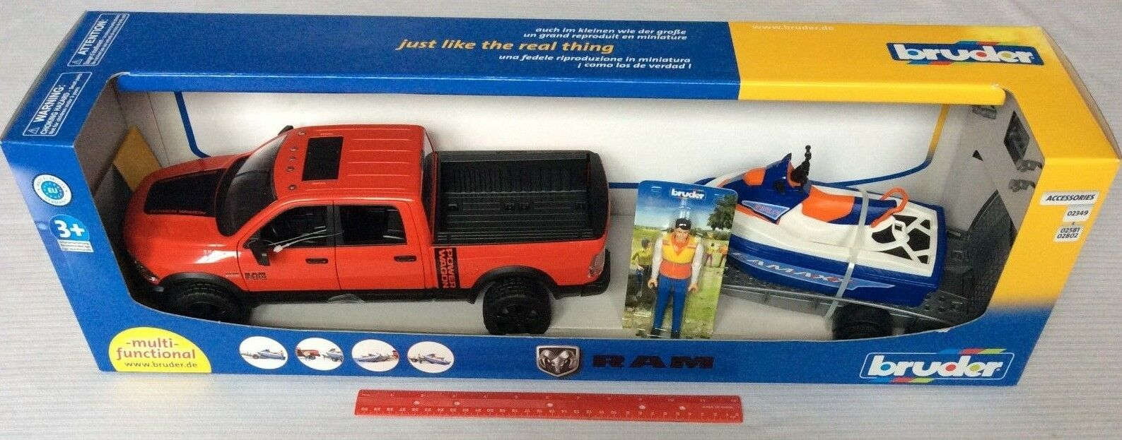 Bruder Toys RAM 2500 Power Wagon w  Trailer Personal Water Craft & Driver 02503