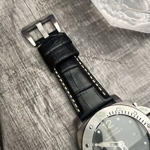 Détails sur Pour Officine Panerai Luminor Radiomir 26mm Noir Cuir de Veau Bracelet de Montre