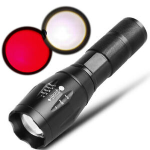 Zoom USB Rechargeable Red Light Flashligt Astronomy Night Vision Camping Torch
