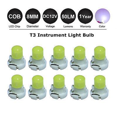 10x White Light T3 COB SMD Mini LED Car Speedometer Dashboard Interior Bulb 12V