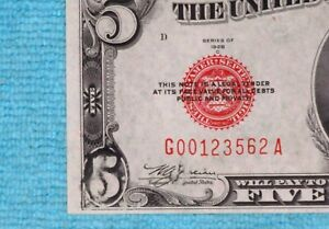 1928-C-Error-Print-5-US-Note-Federal-Reserve-Five-Dollar-Red-Seal-Fr-1528