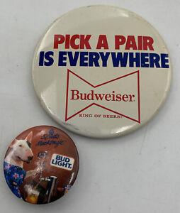 Vintage Budweiser Button Pinback Spuds MacKenzie Pick A Pair Bud Lot/2 20-2048AJ