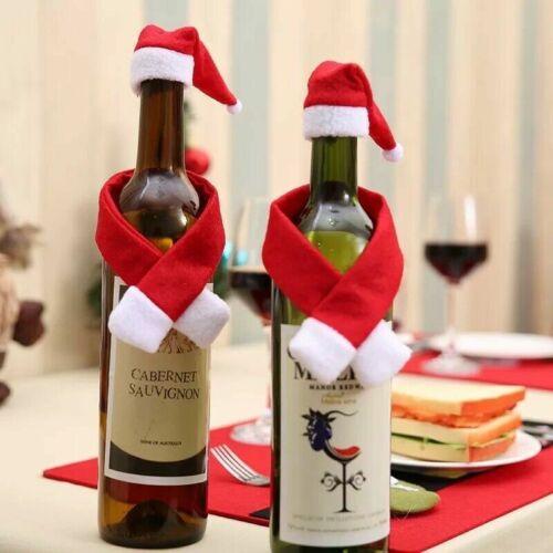 Christmas Wine Bottle Cover Set Santa Claus Bottle Hat Scarf Table Decorations