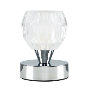 Contemporary silver chrome touch bedside table lamp glass shade image is loading contemporary silver chrome touch bedside table lamp glass aloadofball Gallery