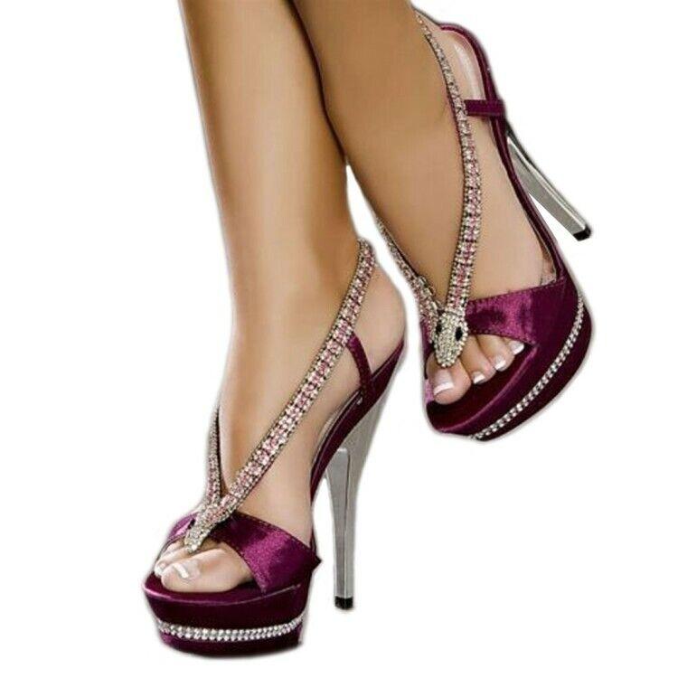 Womens Open Toe Rhinestones Glitter Sequin Heels Sandals Party Slim Heels shoes