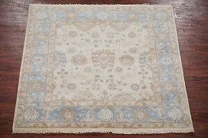 Antiqued-Oushak-6X6-Turkish-Vegetable-Dye-Hand-Knotted-Square-Wool-Area-Rug-New