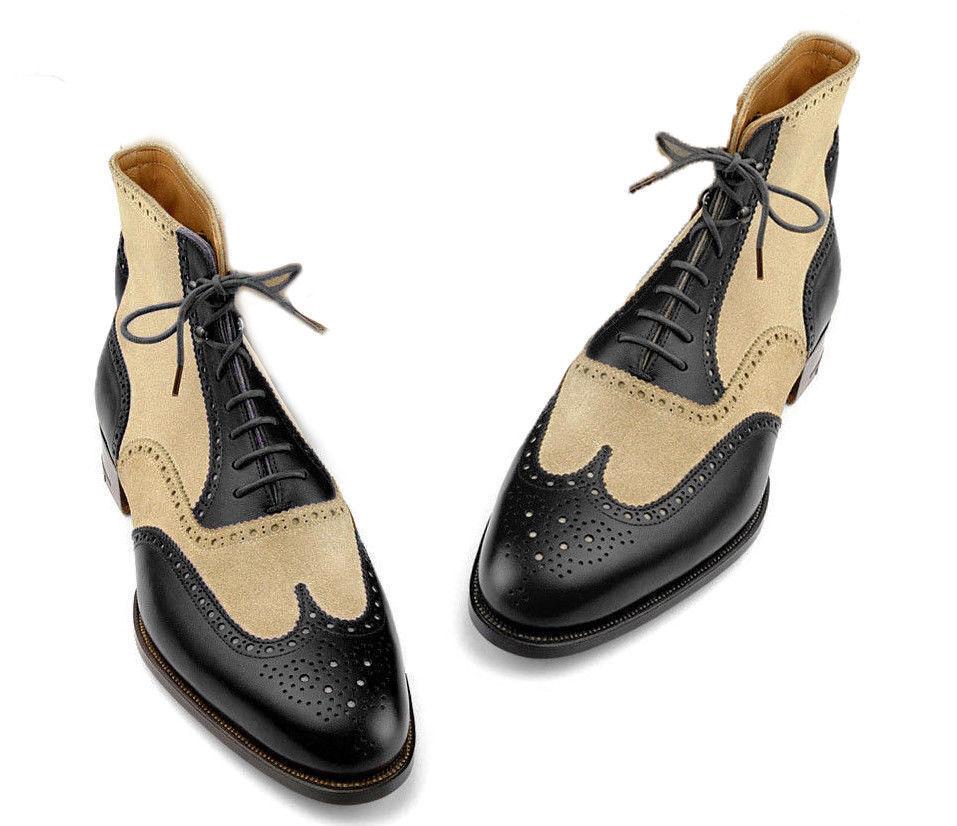 prezzo più economico Uomo Uomo Uomo Ankle avvio's, Wingtip Genuine Leather stivali, Denim stivali, nero Beige avvio  100% di contro garanzia genuina