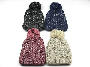d296756a1d74f3 Image is loading Speckled-Multicolored-Knitted-Beanie-Hat-with-Rhinestones- Pom-
