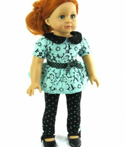 "Doll Clothes 18/"" Pants Black Polka Dot Top Teal Lace Fits American Girl Doll"