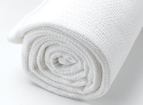 Super Soft Pure Cotton Cellular White OR Cream Baby Pram Blanket 75x100cm