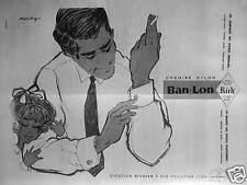 PUBLICITÉ 1958 CHEMISE NYLON BAN LON CRÉATION RICHIER - DESSIN SIGNÉ MOUCHY
