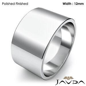a46855a69dc26 Wedding Band Women Plain Flat Pipe Cut Ring 12mm 14k White Gold 10.5 ...