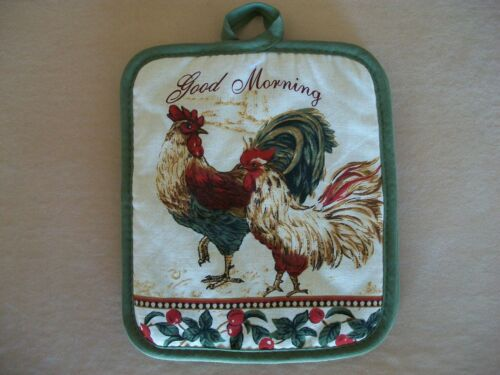 """American Mills Green Rooster /""""Good Morning/"""" Pot Holder 100/% Cotton BRAND NEW!!"""