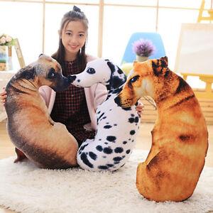 3d Dog Print Throw Pillow Cushion Cute Plush Doll Gift Home Sofa