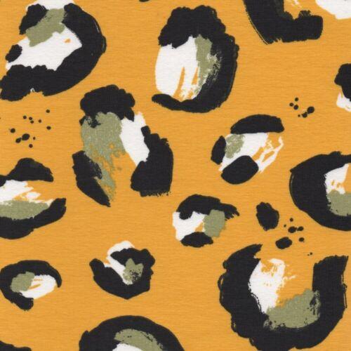 Dressmaking Cotton Fabric Oversized Leopard Animal Print Jersey Yellow