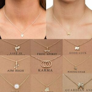 Fashion-Women-Elephant-Sun-Heart-Necklace-Charms-Pendant-Gold-Chain-Card-Jewelry
