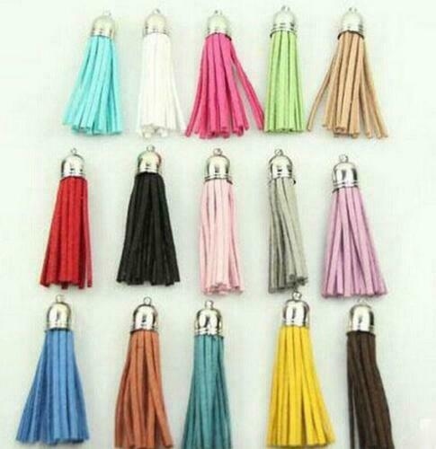 100pcs Suede Tassel For Keychain Straps Jewelry Charms Leather Tassel 40mm
