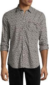 Diesel S Mirta Men's Grey Floral Button Down Long Sleeve Casual Shirt