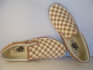 VANS-Classic-Slip-On-Tiger-039-s-Eye-White-Checkerboard-Shoes-Men-039-s-Sz-12-New-In-Box