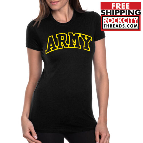 ARMY ARCHED LADIES T-SHIRT Black usarmy Women/'s Military Shirt Tshirt United USA