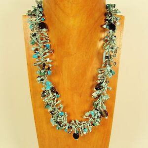 22 Blue Silver Stone Shell Chip Handmade Seed Bead Necklace FREE SHIPPING!