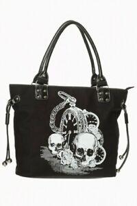 Banned Handbag Skulls /& Roses Women/'s Black 37x25cm