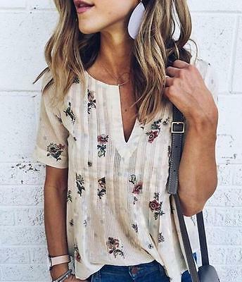 Vintage Boho Women V Neck Floral Printed Short Sleeve Loose Top Blouse T Shirt