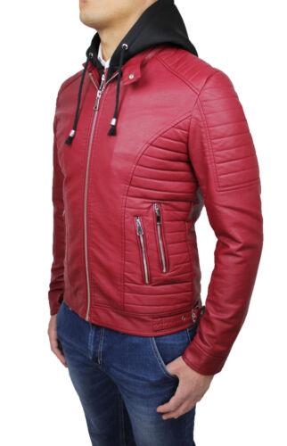 cologique Veste Avec Cuir Casual Bordeaux Homme Capuche Gilet Rouge E Moto 7qSqwREU