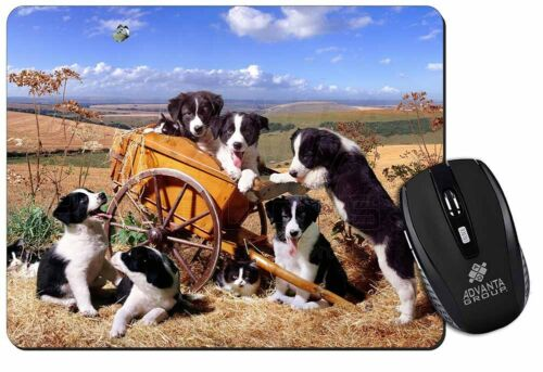 AD-BC3M Border Collie in Wheelbarrow Computer Mouse Mat Christmas Gift Idea