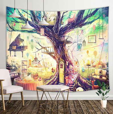 Fairy Tale Tree House Tapestry Wall Hanging Decor For Bedroom Living Room Dorm Ebay
