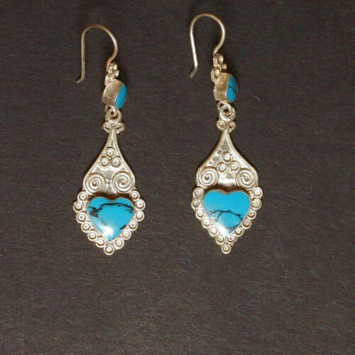 Sterling SILVER BellyDance EARRINGS Kuchi Tribal ATS Real TURQUOISE 725a4