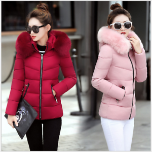 Hot-Winter-Women-039-s-Down-Cotton-Parka-Short-Fur-Collar-Hooded-Coat-Quilted-Jacket