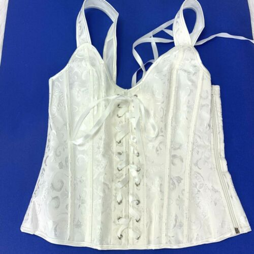New Corset Bustier White Ivory Lace Up Front Back Zip Side size M