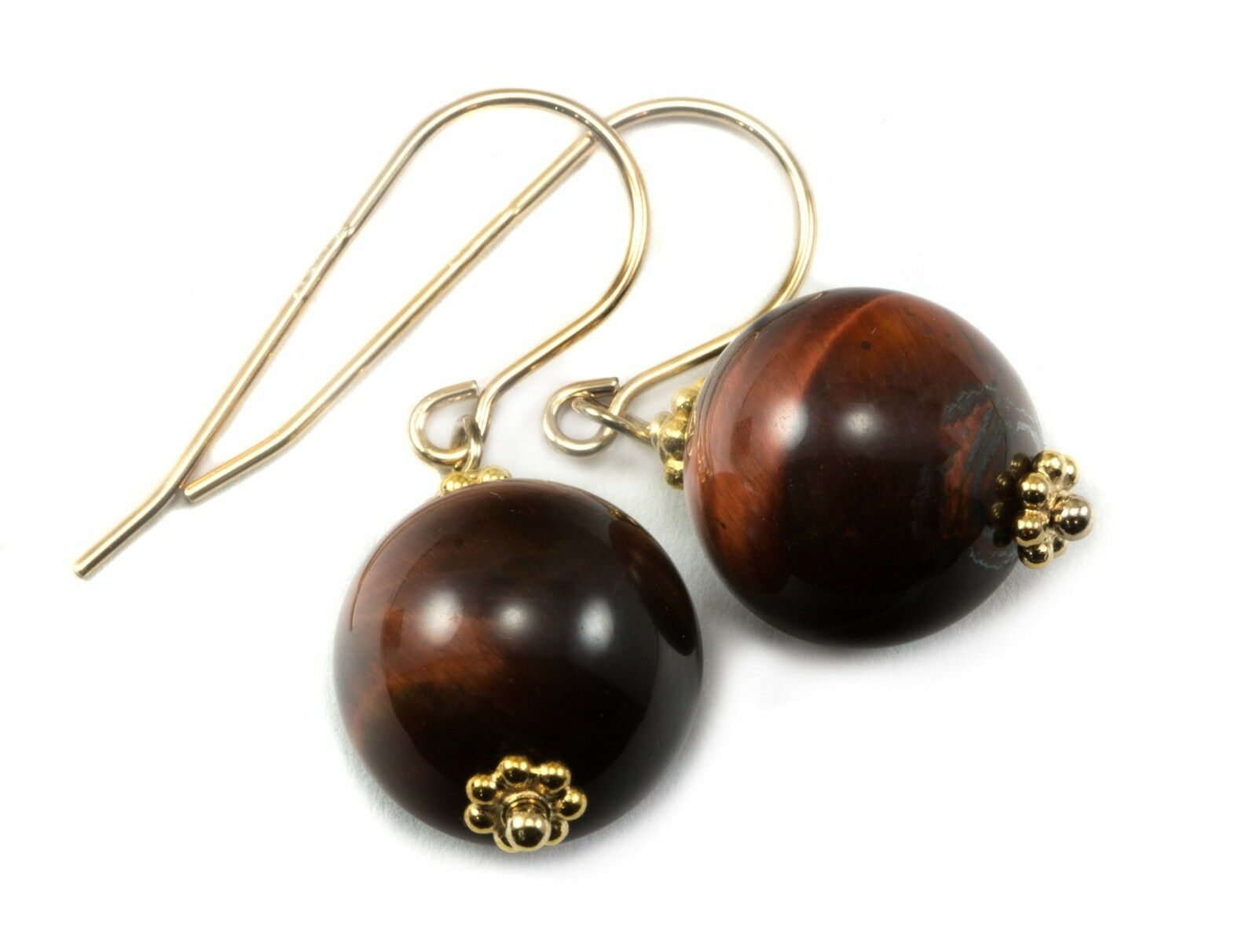 Red Tiger's Eye Earrings 14k gold Sterling Round Dangles Drops golden Amber