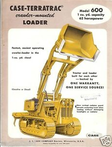 Details about Equipment Brochure - Case-Terratrac - 600 - Crawler Loader -  1957 (EB213)