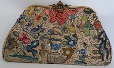 Vintage Clutch Bag Embroidered Gold Tone Oriental Detailed Theme