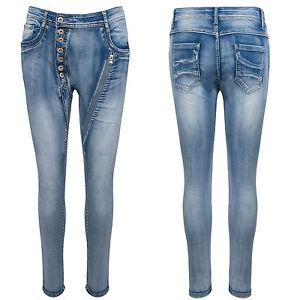 Genieße am niedrigsten Preis neuer Lebensstil bester Ort für Details zu Coole Damen Jeans Hose Knittereffekt Denim Blau Clubwear Jeans  XS-XL D-341 NEU