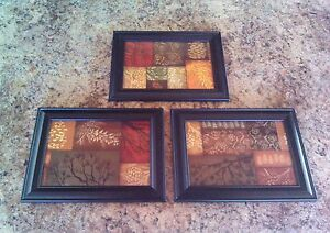 3-Adirondack-Pinecone-Pictures-5x7-Framed-w-Glass-Rustic-Wall-Hangings-Primitive