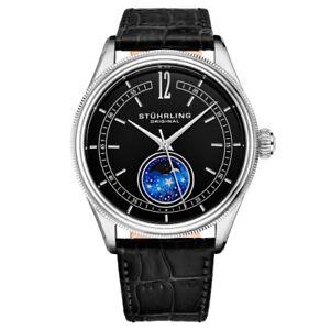 Details about Stuhrling Original 897 02 Celestia Moon Phase Black Leather Strap Watch