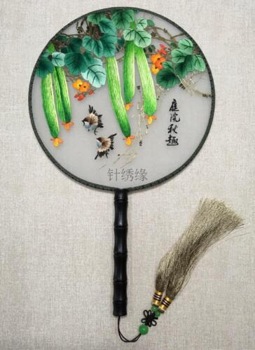 Chinese 3D Lifelike about autumn Double Side SU Embroidery Silk Hand Fan 庭院秋趣