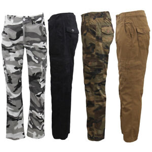 New-Men-039-s-Cotton-Drill-Tactical-Cargo-Work-Pants-6-Pockets-Outdoor-Camo