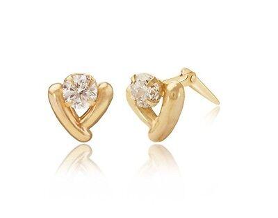 9ct yellow gold cubic zirconia triple cz //earrings Gift box studs