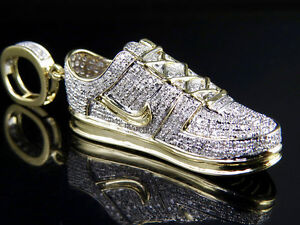 Mens 10K Solid Yellow Gold Genuine Diamond Air force One Shoe ... 284385dc2