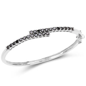 Black-Diamond-Bracelet-925-Sterling-Silver-Round-Genuine-Gemstone-7-50-inches